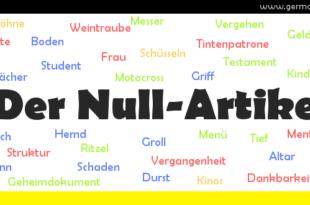 Der Null-Artikel - rodzajnik zerowy/brak rodzajnika