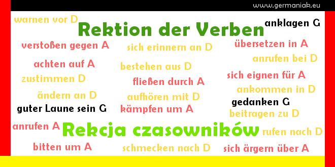 Rektion der Verben - rekcja czasowników